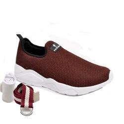 Kit Tênis Esporte Fitnes Vermelho + Cinto e Meia - Top Franca Shoes | Calçados confortáveis em Couro