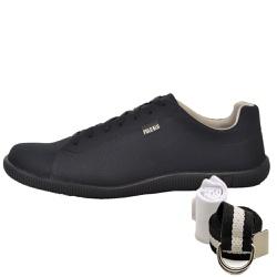 Kit Sapatênis Casual Preto + Cinto e Meia - Top Franca Shoes | Calçados confortáveis em Couro