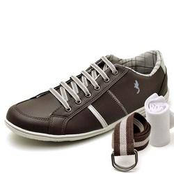 Kit Sapatênis Casual Top Franca Shoes Café + Cinto... - Top Franca Shoes | Calçados confortáveis em Couro
