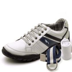 Kit Sapatênis Casual Top Franca Shoes Cinza + Cint... - Top Franca Shoes   Calçados confortáveis em Couro