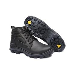 Bota em Couro Picker Preto com C.A Lee Foot - Top Franca Shoes | Calçados confortáveis em Couro