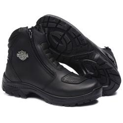 Bota Motociclista Impermeável Resistente a Água Ro... - Top Franca Shoes | Calçados confortáveis em Couro