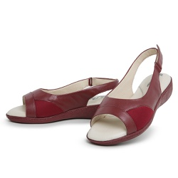 Sandália Top Franca Shoes Feminina Conforto Vinho - Top Franca Shoes | Calçados confortáveis em Couro