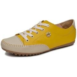 Mocatênis Feminino Top Franca Shoes Amarelo e Bege - Top Franca Shoes | Calçados confortáveis em Couro