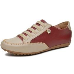 Mocatênis Feminino Top Franca Shoes Bege e Vinho - Top Franca Shoes | Calçados confortáveis em Couro
