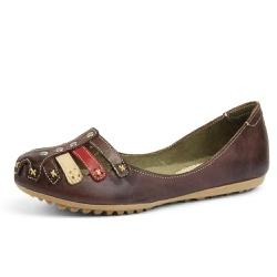 Sandália Sapatilha Feminina Top Franca Shoes Café - Top Franca Shoes | Calçados confortáveis em Couro
