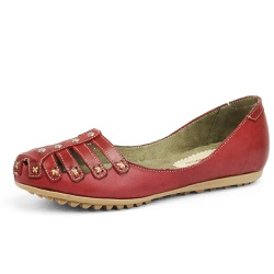 Sandália Sapatilha Feminina Top Franca Shoes Bordo - Top Franca Shoes | Calçados confortáveis em Couro