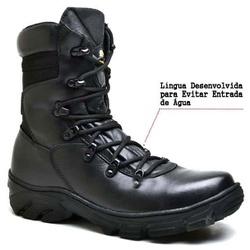 Bota Coturno Militar Tiger Preto - Top Franca Shoes | Calçados confortáveis em Couro