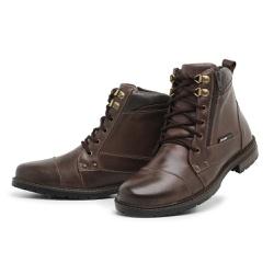 Bota Coturno Masculino Top Franca Shoes Café - Top Franca Shoes | Calçados confortáveis em Couro