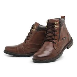 Bota Coturno Masculino Top Franca Shoes Marrom - Top Franca Shoes | Calçados confortáveis em Couro