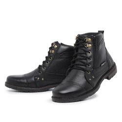 Bota Coturno Masculino Top Franca Shoes Preto - Top Franca Shoes | Calçados confortáveis em Couro