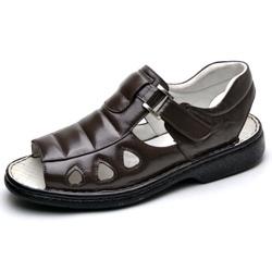 Sandália Masculina Ortopédica Anatomica de Couro C... - Top Franca Shoes | Calçados confortáveis em Couro