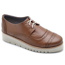 Sapato Oxford Feminino Sola Anabela Caramelo - Top Franca Shoes | Calçados confortáveis em Couro