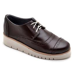 Sapato Oxford Feminino Sola Anabela Café - Top Franca Shoes | Calçados confortáveis em Couro