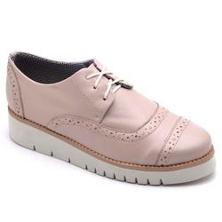 Sapato Oxford Feminino Sola Anabela Nude - Top Franca Shoes   Calçados confortáveis em Couro