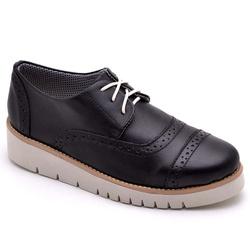Sapato Oxford Feminino Sola Anabela Preto - Top Franca Shoes | Calçados confortáveis em Couro