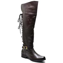 Bota Montaria Feminina Over com Regulagem Café - Top Franca Shoes | Calçados confortáveis em Couro