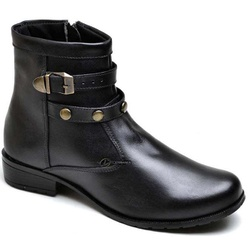 Bota Feminina Cano Curto Detalhe Aplique e Fivela ... - Top Franca Shoes | Calçados confortáveis em Couro