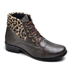 Bota Feminina Cano Curto Detalhe Onça Café - Top Franca Shoes | Calçados confortáveis em Couro