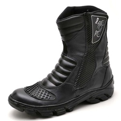 Bota Coturno Motociclista Couro Semi Impermeável P... - Top Franca Shoes | Calçados confortáveis em Couro