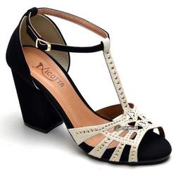 Sandália Feminina Salto Alto Grosso Preto / Gelo - Top Franca Shoes | Calçados confortáveis em Couro