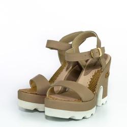 Sandália Feminina Top Franca Shoes Salto Grosso Nu... - Top Franca Shoes | Calçados confortáveis em Couro