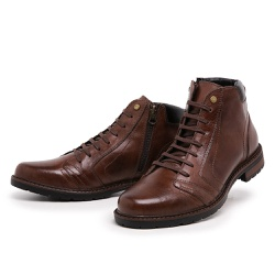 Bota Coturno Top Franca Shoes Cafe - Top Franca Shoes | Calçados confortáveis em Couro