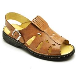 Sandália Masculina Ortopédica Antistress de Couro ... - Top Franca Shoes | Calçados confortáveis em Couro