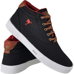 Sapatênis Cano Alto Polo Joy Preto - Top Franca Shoes | Calçados confortáveis em Couro