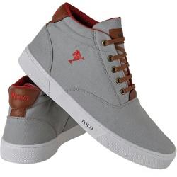 Sapatênis Cano Alto Polo Joy Cinza - Top Franca Shoes | Calçados confortáveis em Couro