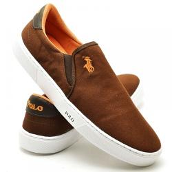 Sapatênis Masculino Slip On Polo Joy Cafe - Top Franca Shoes | Calçados confortáveis em Couro