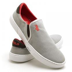 Sapatênis Masculino Slip On Polo Joy Cinza - Top Franca Shoes | Calçados confortáveis em Couro