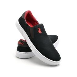 Sapatênis Masculino Slip On Polo Joy Preto - Top Franca Shoes | Calçados confortáveis em Couro