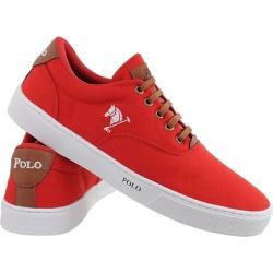 Sapatenis Masculino Polo Joy Casual Em Lona Vermel... - Top Franca Shoes   Calçados confortáveis em Couro