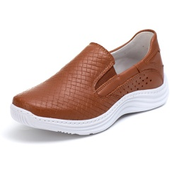 Tênis Sapatenis Slip Top Franca Shoes Caramelo - Diconfort Calçados | Calçados confortáveis e anatômicos