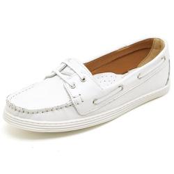 Sider Mocassim Feminino Top Franca Shoes Branco - Top Franca Shoes | Calçados confortáveis em Couro