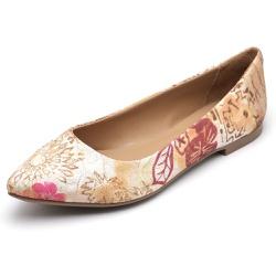 Sapatilha Feminina Bico Fino Top Franca Shoes Flor... - Top Franca Shoes   Calçados confortáveis em Couro