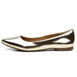 Sapatilha Feminina Bico Fino Spechio Ouro Light - Diconfort Calçados | Calçados confortáveis e anatômicos