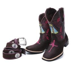 Bota Country Texana Feminina Nossa Senhora E Cinto... - Top Franca Shoes | Calçados confortáveis em Couro