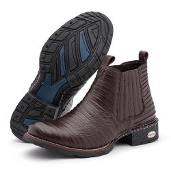 Bota Botina Country Casco Tatu Em Couro Palmilha A... - Top Franca Shoes | Calçados confortáveis em Couro