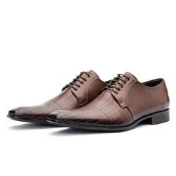 Sapato Social de Amarrar com Estampa Solado em Bor... - Top Franca Shoes | Calçados confortáveis em Couro