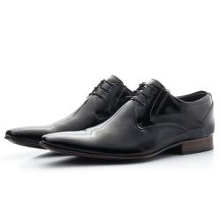 Sapato Social Masculino De Amarrar Preto Solado De... - Top Franca Shoes | Calçados confortáveis em Couro