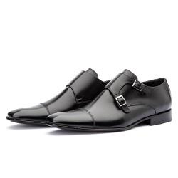 Sapato Monk Strap Masculino Preto Solado em Couro - Top Franca Shoes | Calçados confortáveis em Couro