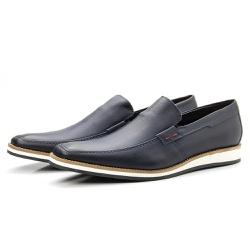 Sapato Mocassim Masculino Casual Estonado Marinho - Top Franca Shoes | Calçados confortáveis em Couro
