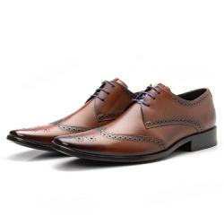 Sapato Brogue Masculino De Amarrar Orange Solado E... - Top Franca Shoes   Calçados confortáveis em Couro