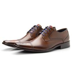 Sapato Brogue Masculino De Amarrar Whisky Solado E... - Top Franca Shoes | Calçados confortáveis em Couro