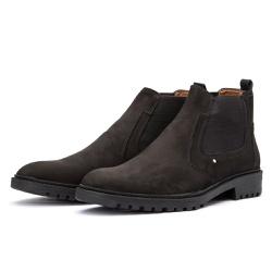Bota Chelsea Casual Masculina 705 Nobuck Preta - Top Franca Shoes | Calçados confortáveis em Couro