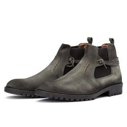Bota Chelsea Casual Masculina 708 Nobuck Cinza - Top Franca Shoes | Calçados confortáveis em Couro