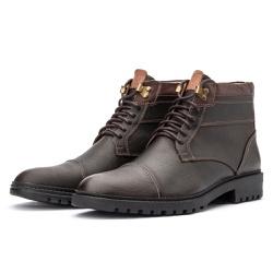 Bota Coturno Casual Masculino 709 Arizona Brown - Top Franca Shoes | Calçados confortáveis em Couro