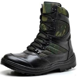 Bota Coturno Militar Tatico Top Franca Shoes Preto... - Top Franca Shoes | Calçados confortáveis em Couro
